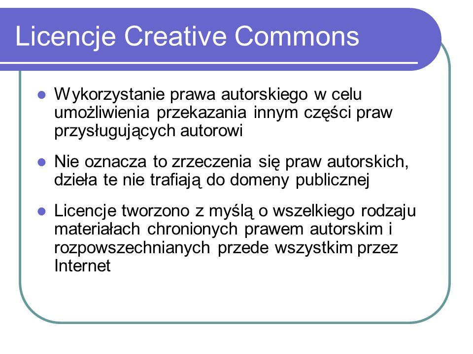 Licencje Creative Commons Licence standardowe Licencje dodatkowe W obrębie obu powyższych kategorii zasadniczych cały czas tworzone są nowe rodzaje licencji, w zależności od zaistniałych potrzeb.