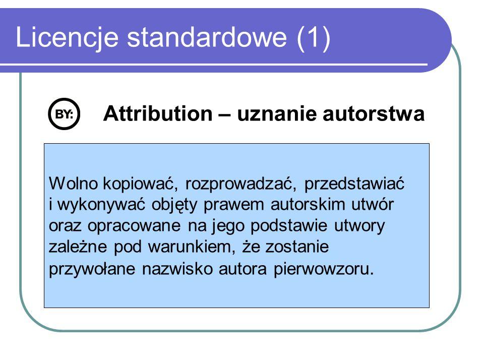 Licencje standardowe (2) Non commercial – użycie niekomercyjne Wolno kopiować, rozprowadzać, przedstawiać i wykonywać objęty prawem autorskim utwór oraz opracowane na jego podstawie utwory zależne jedynie dla celów niekomercyjnych.