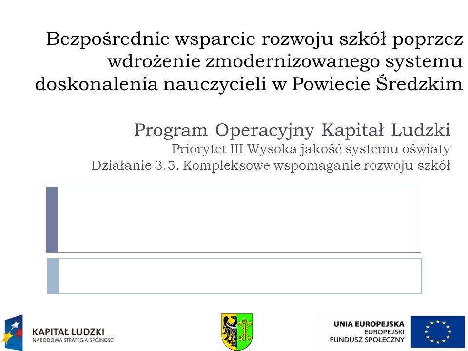 Bezpośrednie wsparcie rozwoju szkół poprzez wdrożenie zmodernizowanego systemu doskonalenia nauczycieli w Powiecie Średzkim Program Operacyjny Kapitał