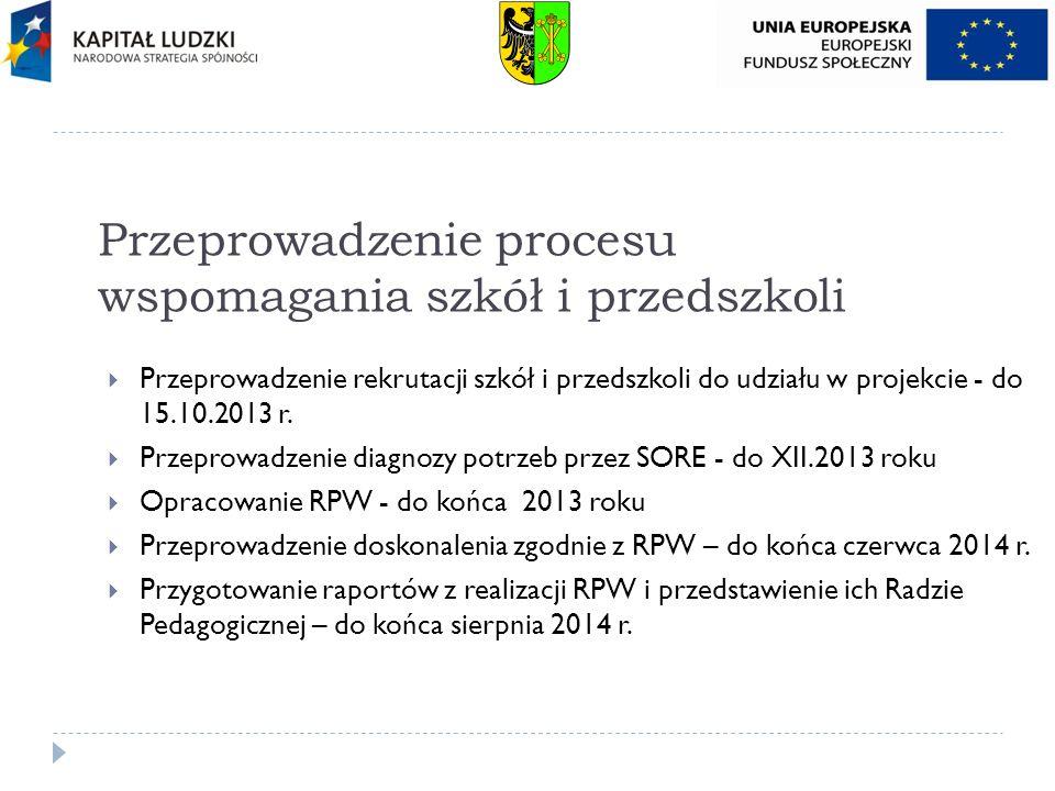 Przeprowadzenie procesu wspomagania szkół i przedszkoli Przeprowadzenie rekrutacji szkół i przedszkoli do udziału w projekcie - do 15.10.2013 r. Przep