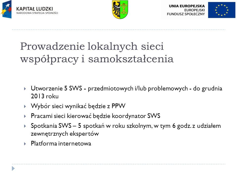 Prowadzenie lokalnych sieci współpracy i samokształcenia Utworzenie 5 SWS - przedmiotowych i/lub problemowych - do grudnia 2013 roku Wybór sieci wynik