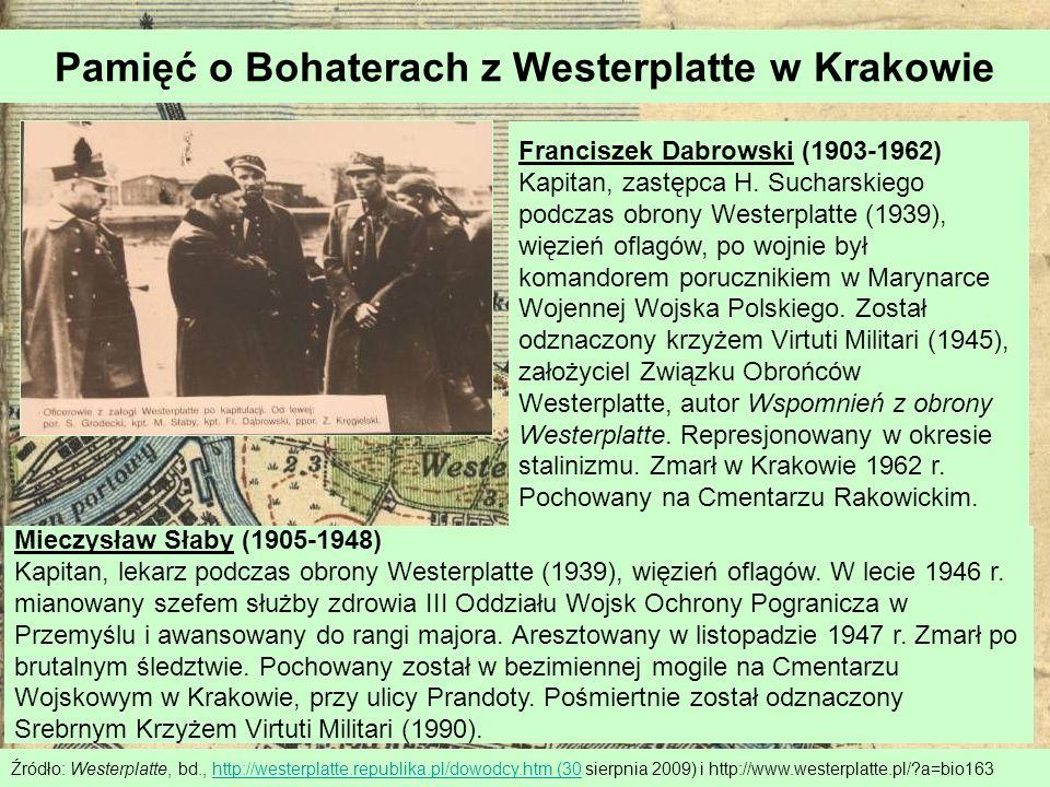 Pamięć o Bohaterach z Westerplatte w Krakowie Źródło: Westerplatte, bd., http://westerplatte.republika.pl/dowodcy.htm (30 sierpnia 2009) i http://www.