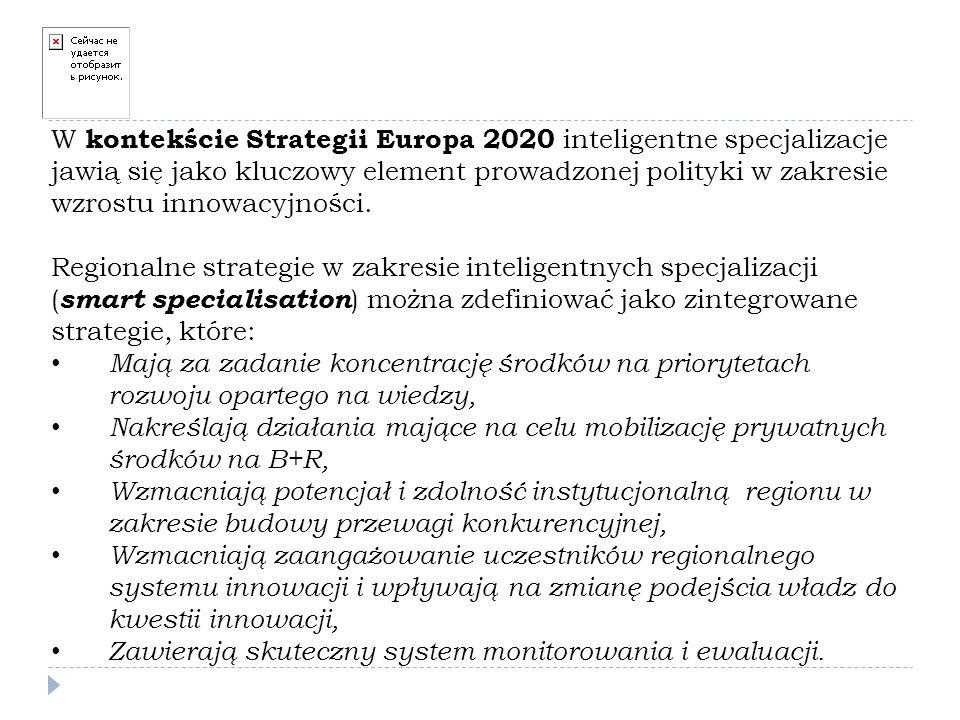 W kontekście Strategii Europa 2020 inteligentne specjalizacje jawią się jako kluczowy element prowadzonej polityki w zakresie wzrostu innowacyjności.