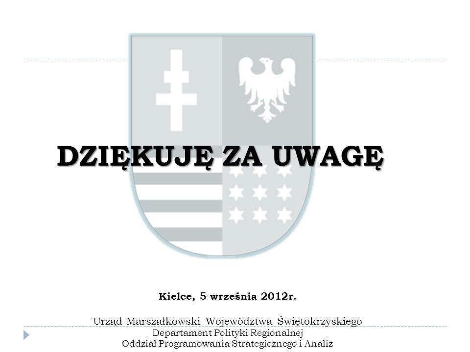 DZIĘKUJĘ ZA UWAGĘ Kielce, 5 września 2012r. Urząd Marszałkowski Województwa Świętokrzyskiego Departament Polityki Regionalnej Oddział Programowania St