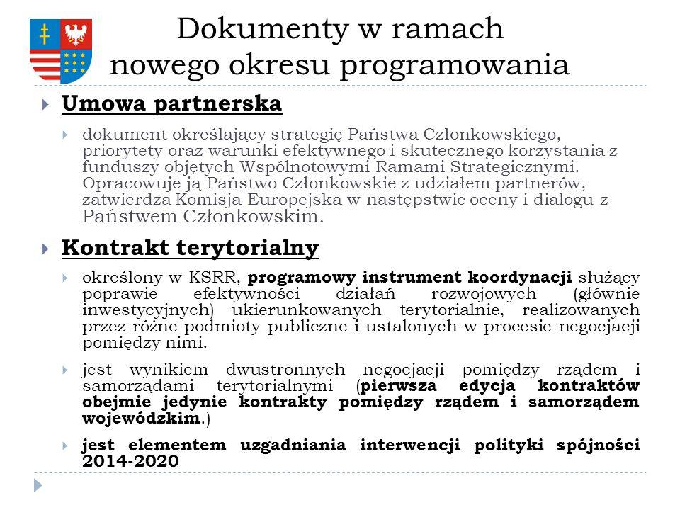 Dokumenty w ramach nowego okresu programowania Umowa partnerska dokument określający strategię Państwa Członkowskiego, priorytety oraz warunki efektyw
