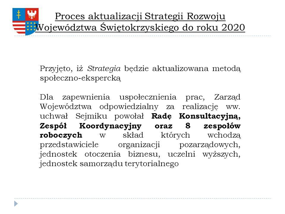 Przyjęto, iż Strategia będzie aktualizowana metodą społeczno-ekspercką Dla zapewnienia uspołecznienia prac, Zarząd Województwa odpowiedzialny za reali