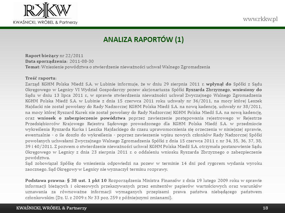 www.rkkw.pl ANALIZA RAPORTÓW (1) KWAŚNICKI, WRÓBEL & Partnerzy18 Raport bieżący nr 22/2011 Data sporządzenia: 2011-08-30 Temat: Wniesienie powództwa o
