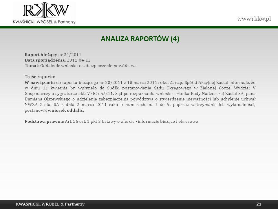 www.rkkw.pl ANALIZA RAPORTÓW (4) KWAŚNICKI, WRÓBEL & Partnerzy21 Raport bieżący nr 24/2011 Data sporządzenia: 2011-04-12 Temat: Oddalenie wniosku o za