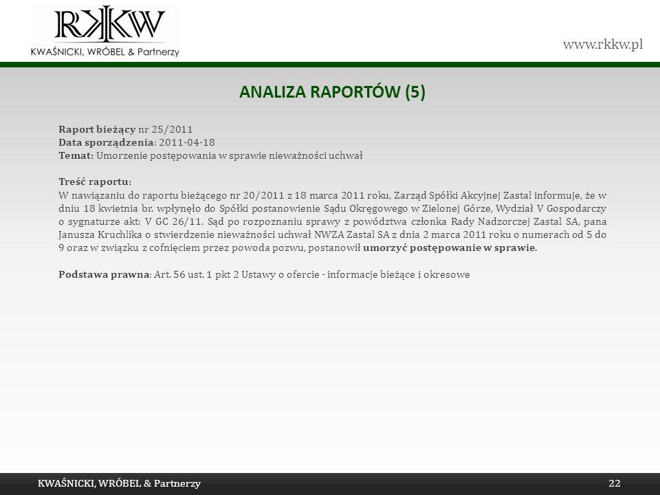 www.rkkw.pl ANALIZA RAPORTÓW (5) KWAŚNICKI, WRÓBEL & Partnerzy22 Raport bieżący nr 25/2011 Data sporządzenia: 2011-04-18 Temat: Umorzenie postępowania