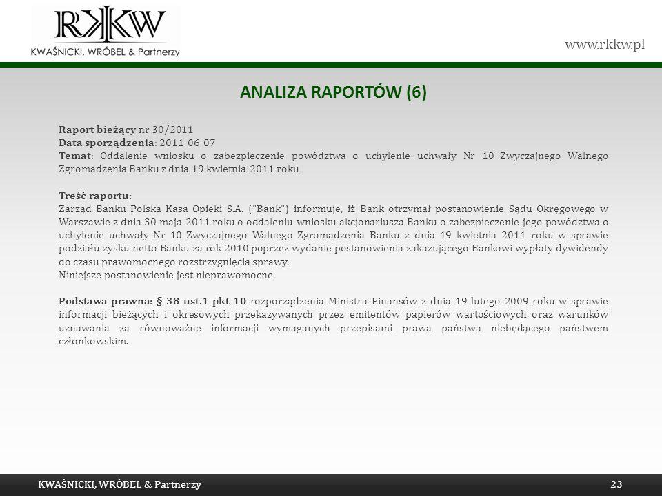 www.rkkw.pl ANALIZA RAPORTÓW (6) Raport bieżący nr 30/2011 Data sporządzenia: 2011-06-07 Temat: Oddalenie wniosku o zabezpieczenie powództwa o uchylen