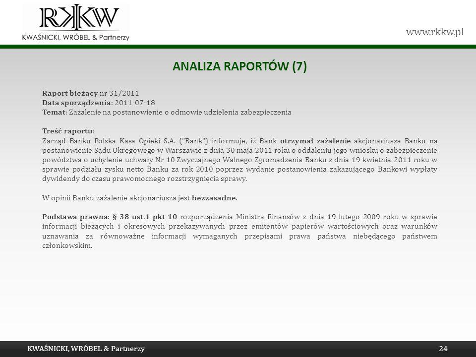 www.rkkw.pl ANALIZA RAPORTÓW (7) Raport bieżący nr 31/2011 Data sporządzenia: 2011-07-18 Temat: Zażalenie na postanowienie o odmowie udzielenia zabezp
