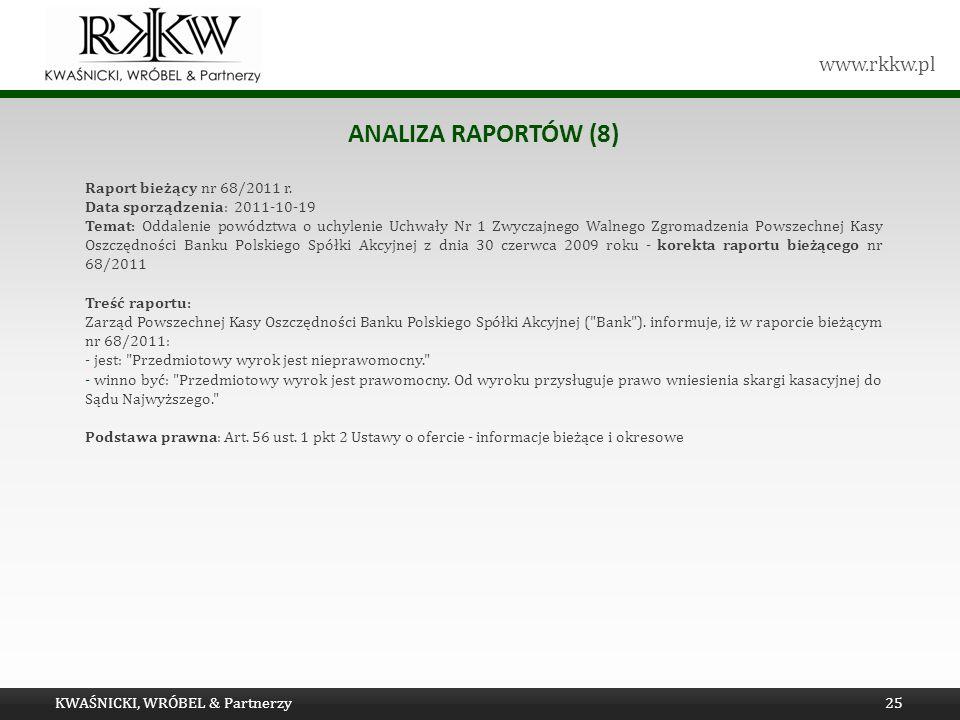 www.rkkw.pl ANALIZA RAPORTÓW (8) Raport bieżący nr 68/2011 r. Data sporządzenia: 2011-10-19 Temat: Oddalenie powództwa o uchylenie Uchwały Nr 1 Zwycza