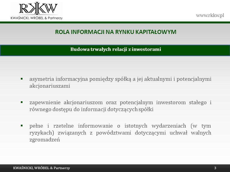www.rkkw.pl ROLA INFORMACJI NA RYNKU KAPITAŁOWYM asymetria informacyjna pomiędzy spółką a jej aktualnymi i potencjalnymi akcjonariuszami zapewnienie a