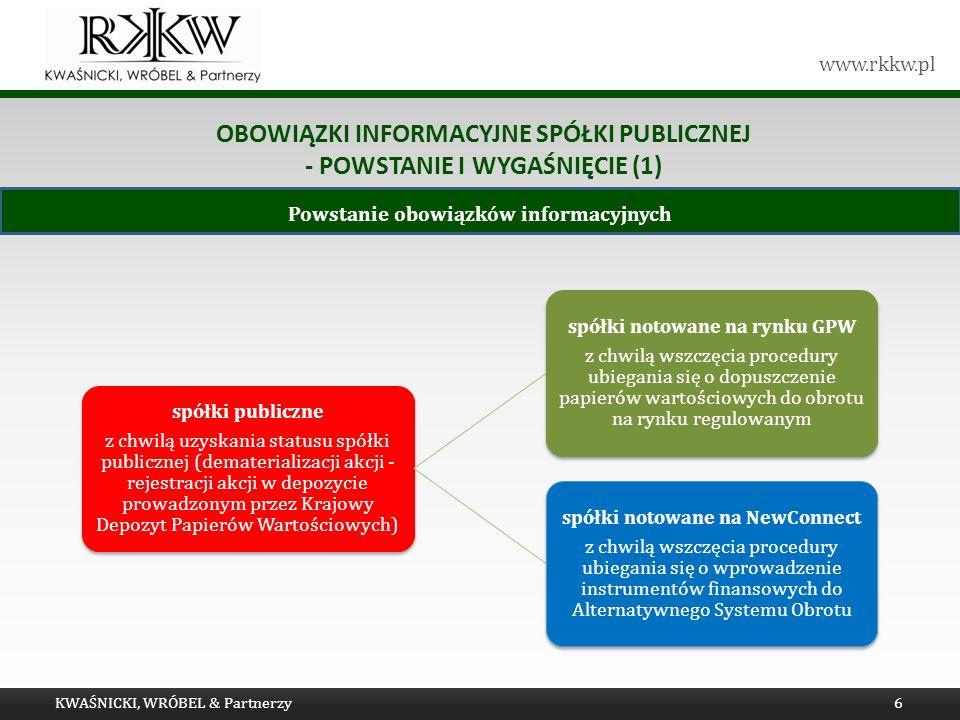 www.rkkw.pl OBOWIĄZKI INFORMACYJNE SPÓŁKI PUBLICZNEJ - POWSTANIE I WYGAŚNIĘCIE (1) KWAŚNICKI, WRÓBEL & Partnerzy6 Powstanie obowiązków informacyjnych