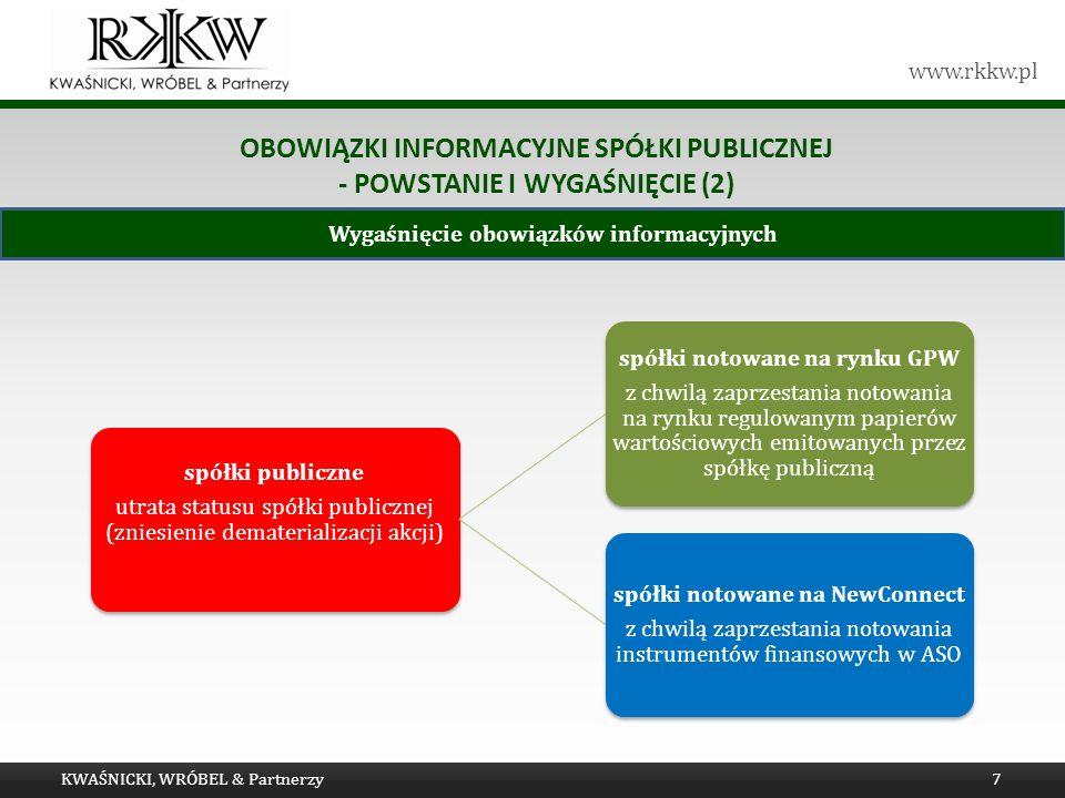 www.rkkw.pl Wygaśnięcie obowiązków informacyjnych OBOWIĄZKI INFORMACYJNE SPÓŁKI PUBLICZNEJ - POWSTANIE I WYGAŚNIĘCIE (2) KWAŚNICKI, WRÓBEL & Partnerzy