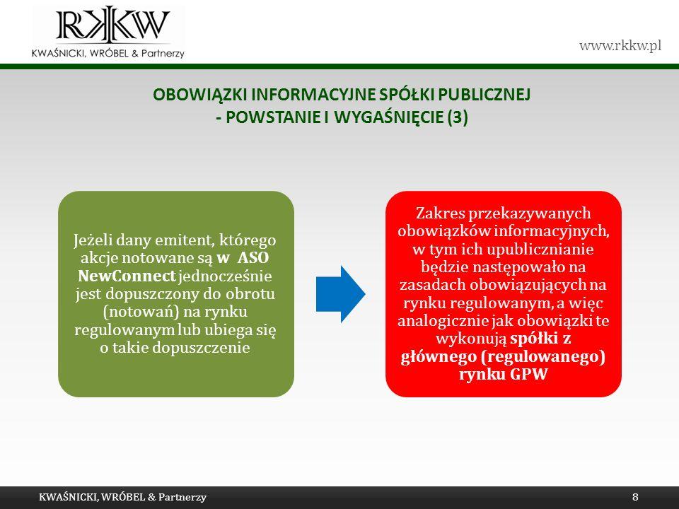 www.rkkw.pl OBOWIĄZKI INFORMACYJNE SPÓŁKI PUBLICZNEJ - POWSTANIE I WYGAŚNIĘCIE (3) KWAŚNICKI, WRÓBEL & Partnerzy8 Jeżeli dany emitent, którego akcje n