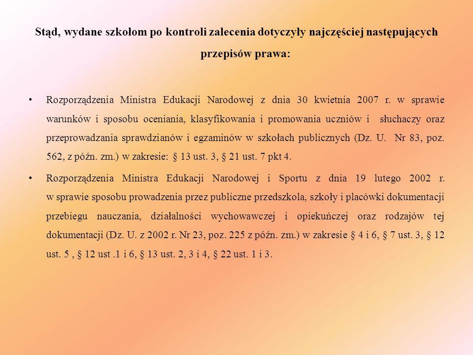 Stąd, wydane szkołom po kontroli zalecenia dotyczyły najczęściej następujących przepisów prawa: Rozporządzenia Ministra Edukacji Narodowej z dnia 30 k
