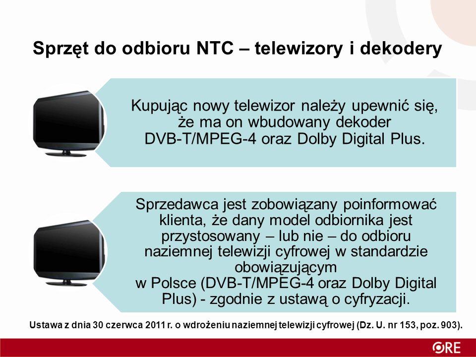 Kupując nowy telewizor należy upewnić się, że ma on wbudowany dekoder DVB-T/MPEG-4 oraz Dolby Digital Plus. Sprzedawca jest zobowiązany poinformować k