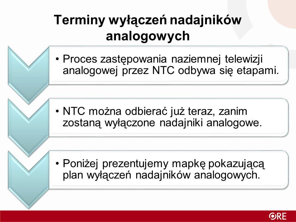 Terminy wyłączeń nadajników analogowych Proces zastępowania naziemnej telewizji analogowej przez NTC odbywa się etapami. NTC można odbierać już teraz,