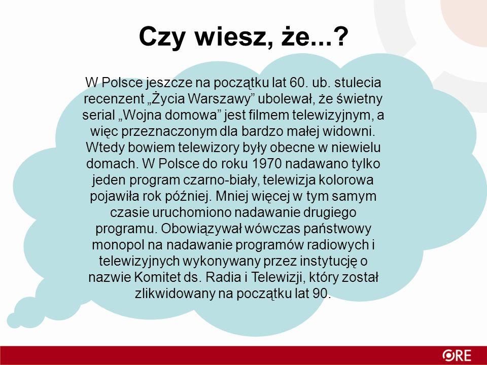 Czy wiesz, że...? Na ziemiach polskich pierwsza transmisja miała miejsce w 1931 roku, eksperyment przeprowadziła rozgłośnia Polskiego Radia w Katowica