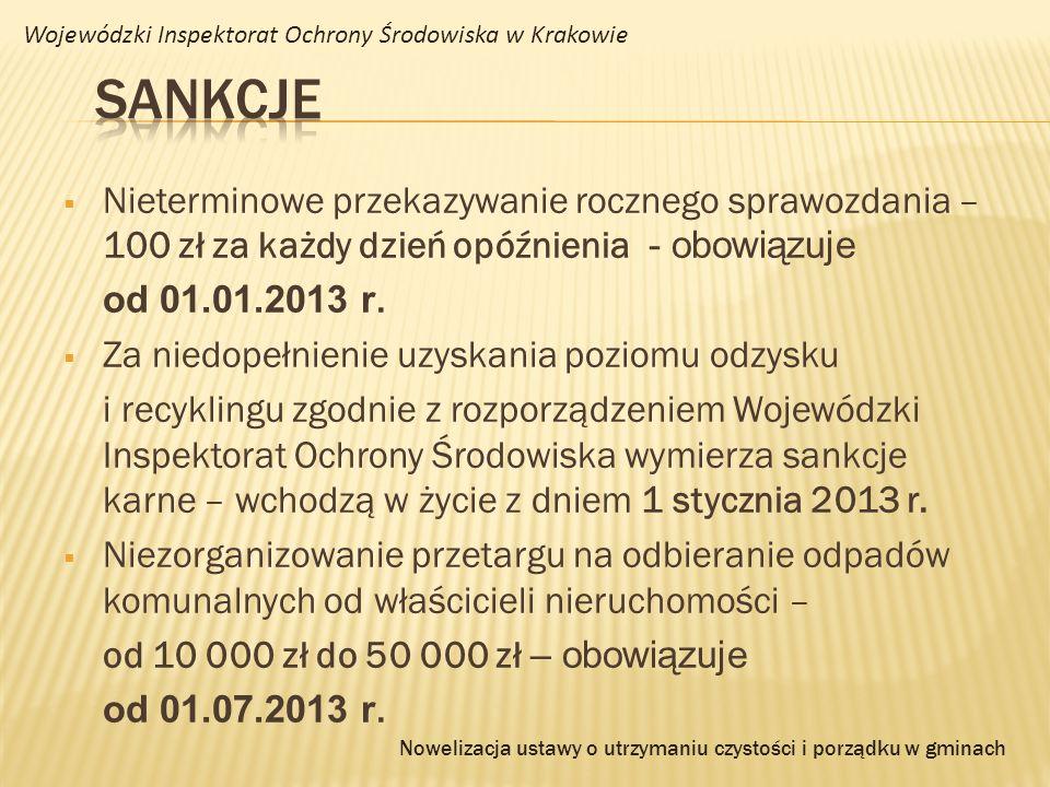 Nieterminowe przekazywanie rocznego sprawozdania – 100 zł za każdy dzień opóźnienia - obowiązuje od 01.01.2013 r. Za niedopełnienie uzyskania poziomu