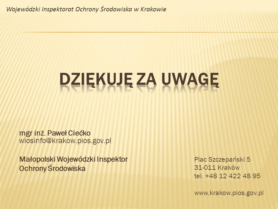 Plac Szczepański 5 31-011 Kraków tel. +48 12 422 48 95 www.krakow.pios.gov.pl mgr inż. Paweł Ciećko wiosinfo@krakow.pios.gov.pl Małopolski Wojewódzki