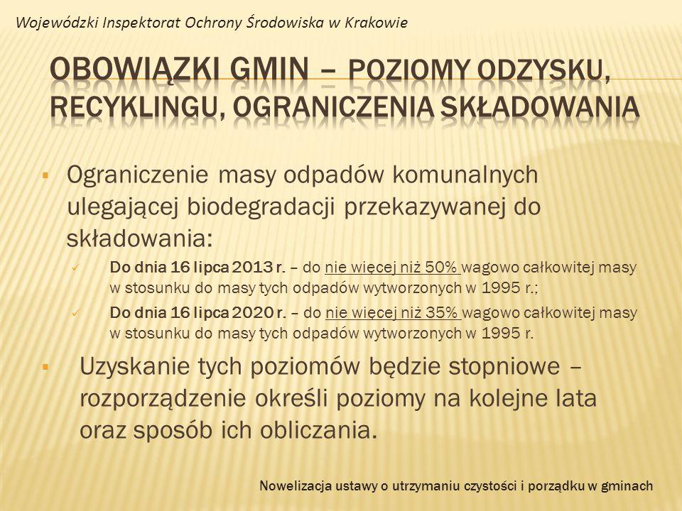 Ograniczenie masy odpadów komunalnych ulegającej biodegradacji przekazywanej do składowania: Do dnia 16 lipca 2013 r. – do nie więcej niż 50% wagowo c