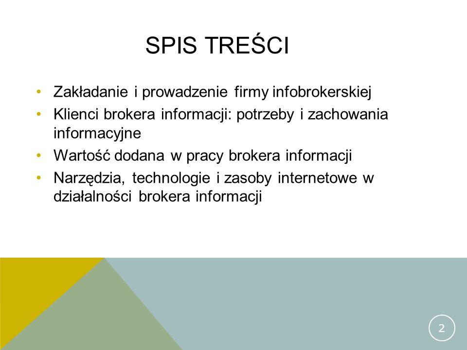 SPIS TREŚCI Zakładanie i prowadzenie firmy infobrokerskiej Klienci brokera informacji: potrzeby i zachowania informacyjne Wartość dodana w pracy broke