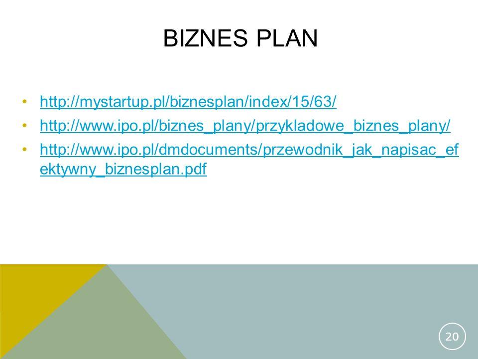 BIZNES PLAN http://mystartup.pl/biznesplan/index/15/63/ http://www.ipo.pl/biznes_plany/przykladowe_biznes_plany/ http://www.ipo.pl/dmdocuments/przewod