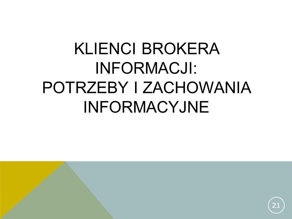 KLIENCI BROKERA INFORMACJI: POTRZEBY I ZACHOWANIA INFORMACYJNE 21