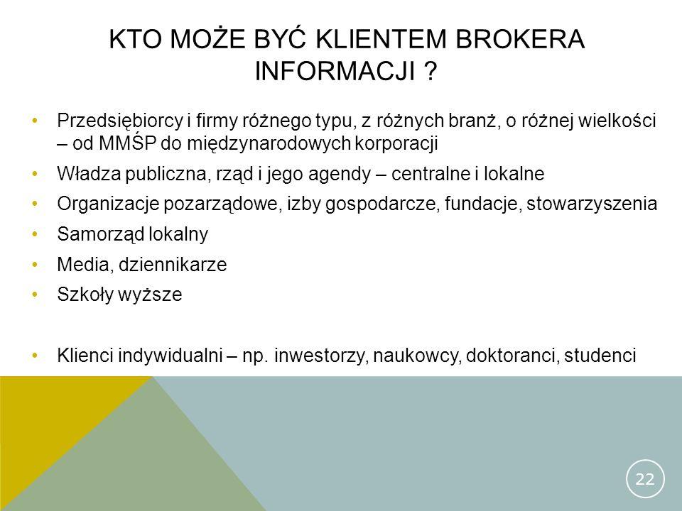 KTO MOŻE BYĆ KLIENTEM BROKERA INFORMACJI ? Przedsiębiorcy i firmy różnego typu, z różnych branż, o różnej wielkości – od MMŚP do międzynarodowych korp