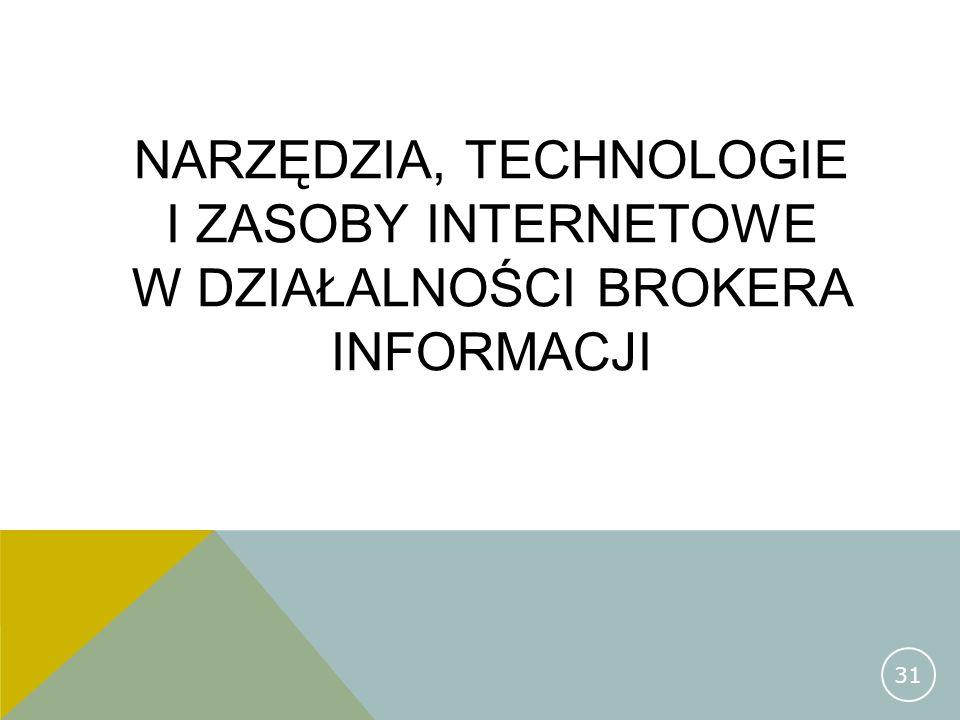 NARZĘDZIA, TECHNOLOGIE I ZASOBY INTERNETOWE W DZIAŁALNOŚCI BROKERA INFORMACJI 31