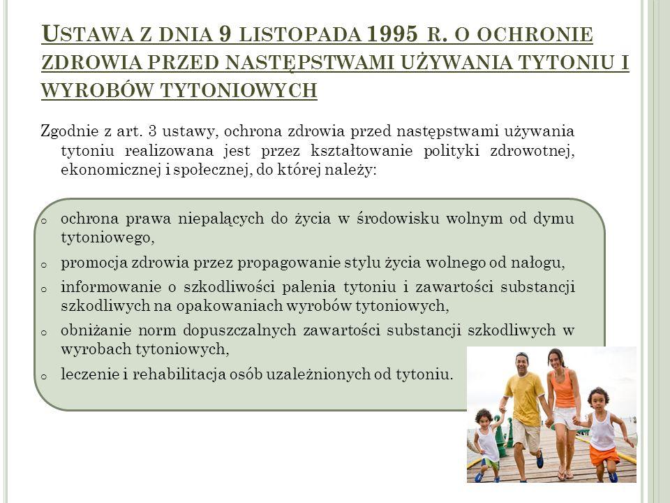 U STAWA Z DNIA 9 LISTOPADA 1995 R. O OCHRONIE ZDROWIA PRZED NASTĘPSTWAMI UŻYWANIA TYTONIU I WYROBÓW TYTONIOWYCH Zgodnie z art. 3 ustawy, ochrona zdrow