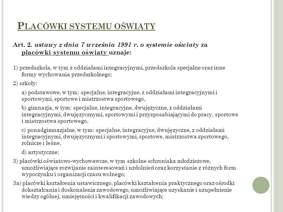 P LACÓWKI SYSTEMU OŚWIATY Art. 2. ustawy z dnia 7 września 1991 r. o systemie oświaty za placówki systemu oświaty uznaje: 1) przedszkola, w tym z oddz