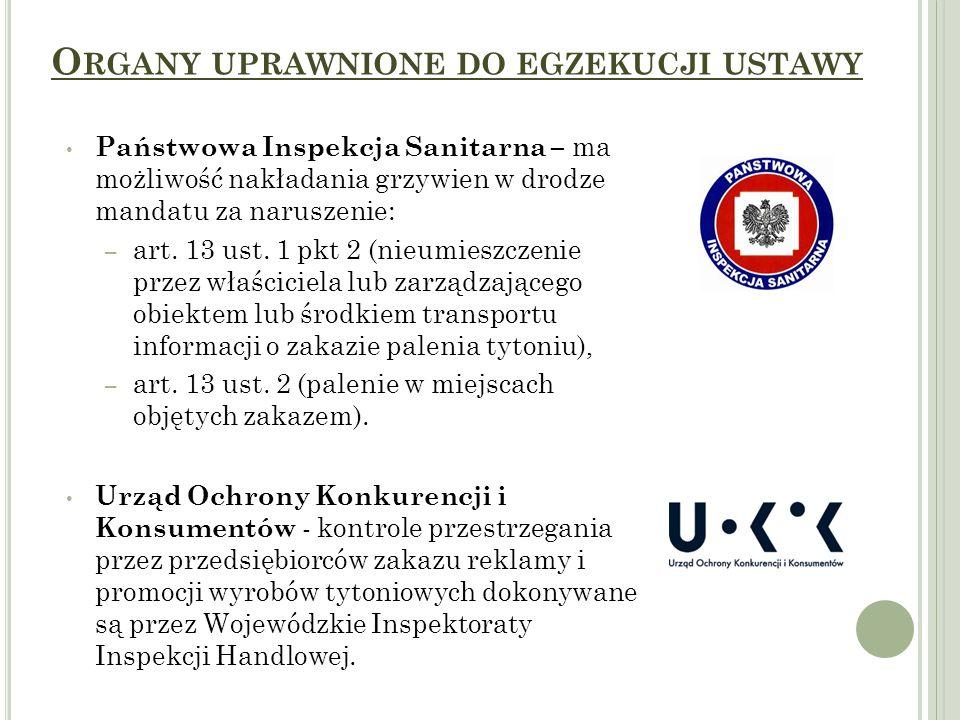 O RGANY UPRAWNIONE DO EGZEKUCJI USTAWY Państwowa Inspekcja Sanitarna – ma możliwość nakładania grzywien w drodze mandatu za naruszenie: – art. 13 ust.