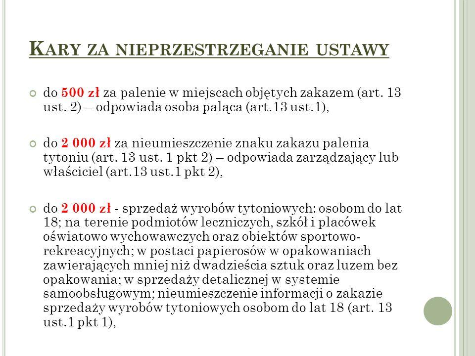 K ARY ZA NIEPRZESTRZEGANIE USTAWY do 500 zł za palenie w miejscach objętych zakazem (art. 13 ust. 2) – odpowiada osoba paląca (art.13 ust.1), do 2 000