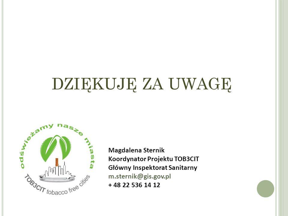 DZIĘKUJĘ ZA UWAGĘ Magdalena Sternik Koordynator Projektu TOB3CIT Główny Inspektorat Sanitarny m.sternik@gis.gov.pl + 48 22 536 14 12