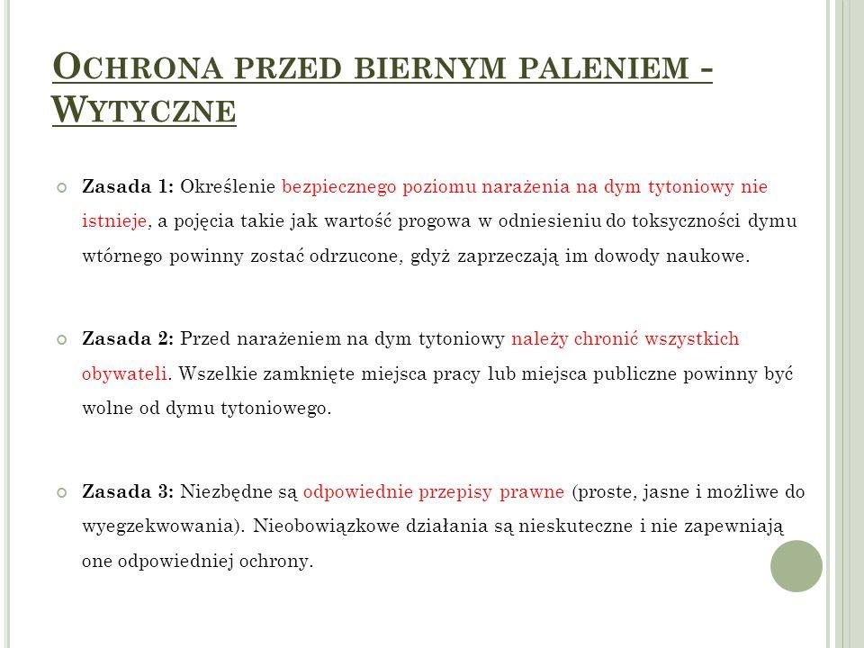 O CHRONA PRZED BIERNYM PALENIEM - W YTYCZNE Zasada 4: Dla skutecznego wdrożenia i wyegzekwowania regulacji na rzecz środowisk wolnych od dymu tytoniowego konieczne jest odpowiednie planowanie działań oraz podejmowanie adekwatnych środków.