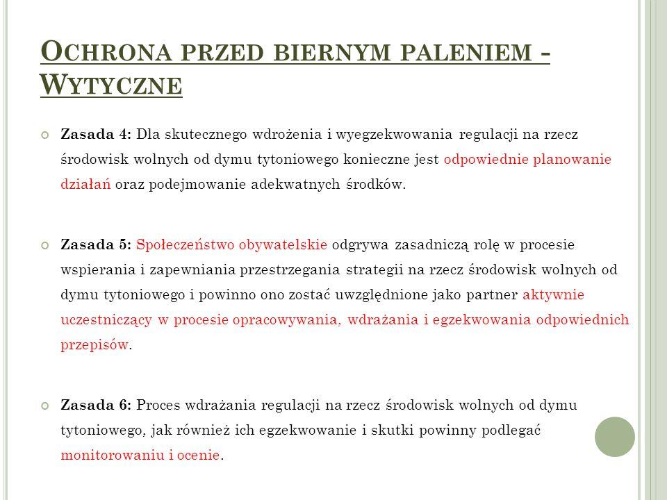 O CHRONA PRZED BIERNYM PALENIEM - W YTYCZNE Zasada 4: Dla skutecznego wdrożenia i wyegzekwowania regulacji na rzecz środowisk wolnych od dymu tytoniow