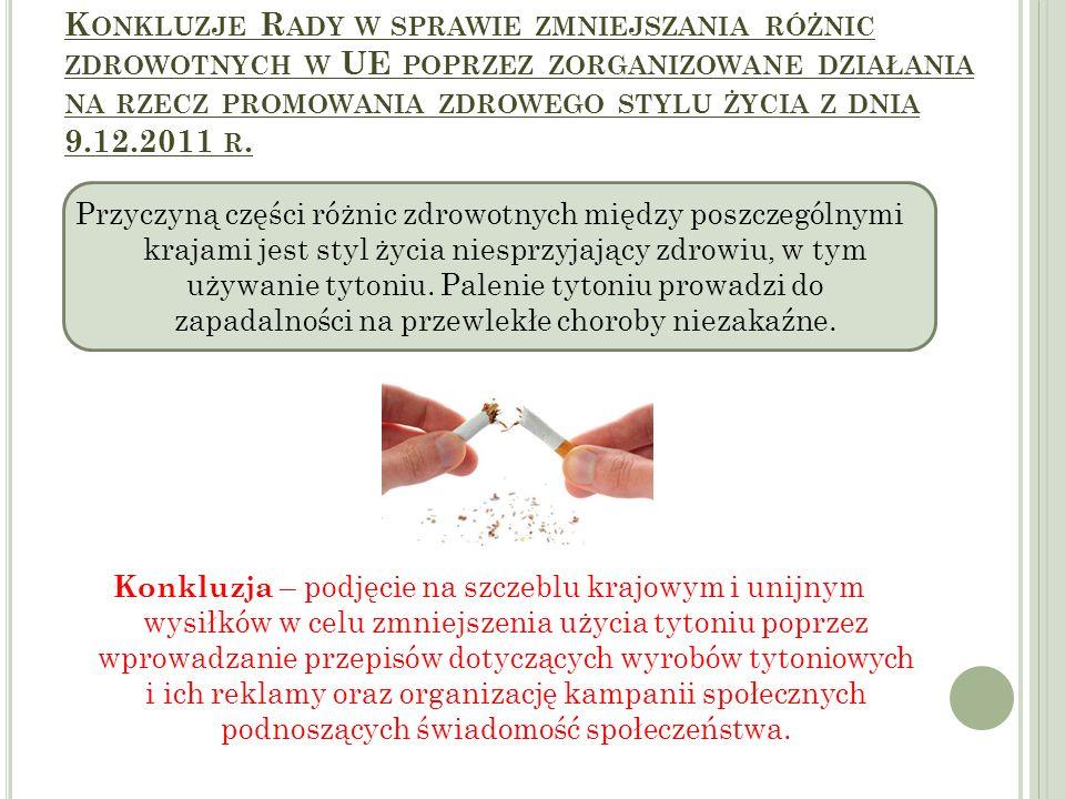 K ONKLUZJE R ADY W SPRAWIE ZMNIEJSZANIA RÓŻNIC ZDROWOTNYCH W UE POPRZEZ ZORGANIZOWANE DZIAŁANIA NA RZECZ PROMOWANIA ZDROWEGO STYLU ŻYCIA Z DNIA 9.12.2