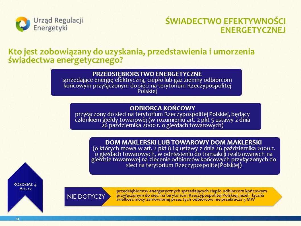 11 ZUŻCIE ENERGII ROZDZIAŁ 3 Art. 11 ŚWIADECTWO EFEKTYWNOŚCI ENERGETYCZNEJ. ROZDZIAŁ 4 Art. 12 Kto jest zobowiązany do uzyskania, przedstawienia i umo