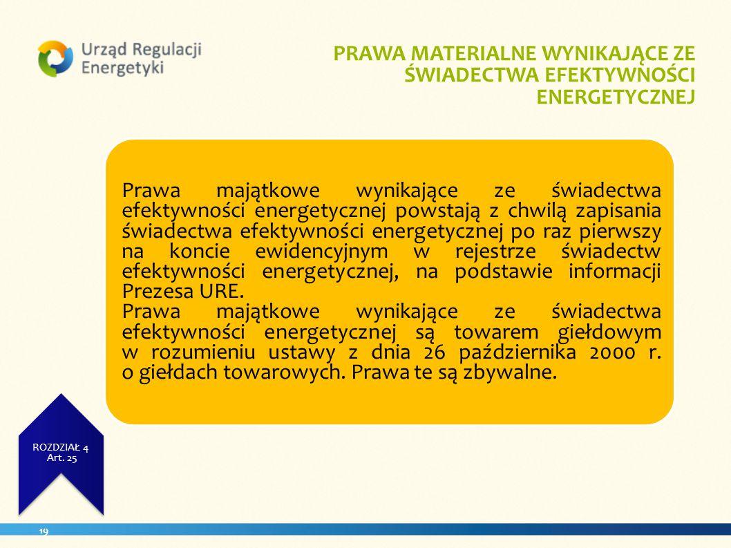 19 UZYSKANA WIELKOŚĆ UŻYTKOWA ZUŻCIE ENERGII ROZDZIAŁ 4 Art. 23. ROZDZIAŁ 4 Art. 25 PRAWA MATERIALNE WYNIKAJĄCE ZE ŚWIADECTWA EFEKTYWNOŚCI ENERGETYCZN