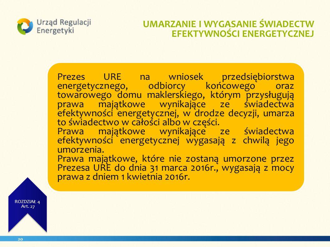 20 UZYSKANA WIELKOŚĆ UŻYTKOWA ZUŻCIE ENERGII ROZDZIAŁ 4 Art. 23. ROZDZIAŁ 4 Art. 27 UMARZANIE I WYGASANIE ŚWIADECTW EFEKTYWNOŚCI ENERGETYCZNEJ Prezes
