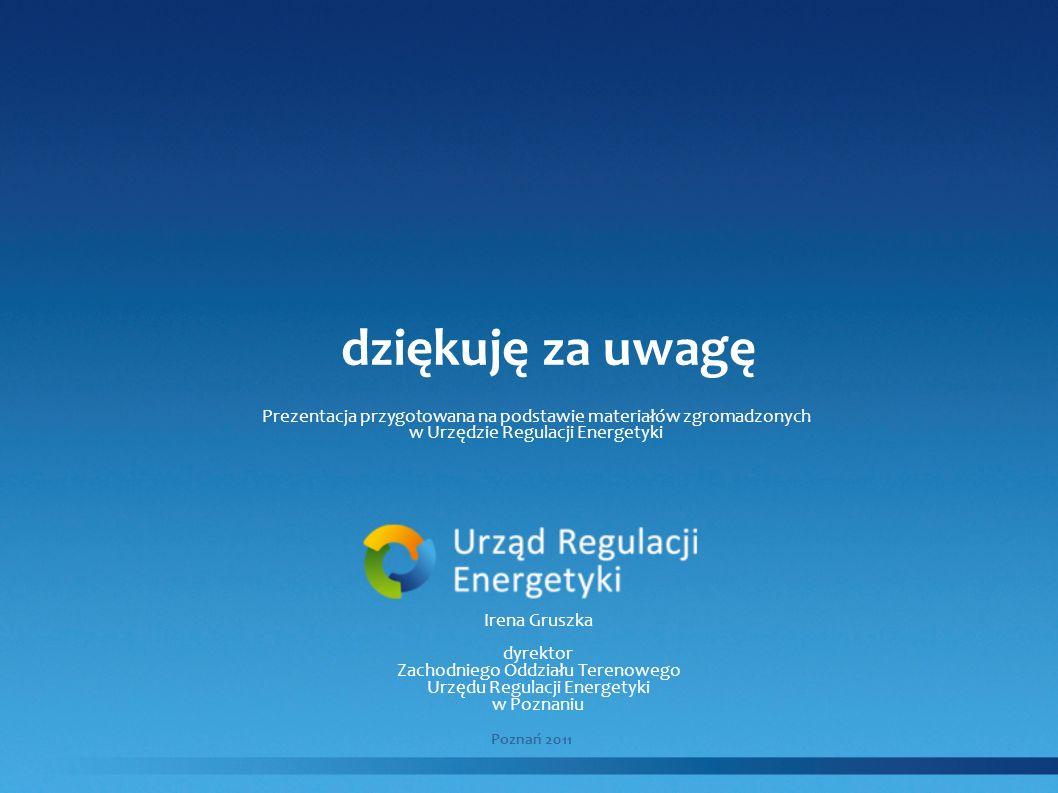 dziękuję za uwagę Poznań 2011 Irena Gruszka dyrektor Zachodniego Oddziału Terenowego Urzędu Regulacji Energetyki w Poznaniu Prezentacja przygotowana n