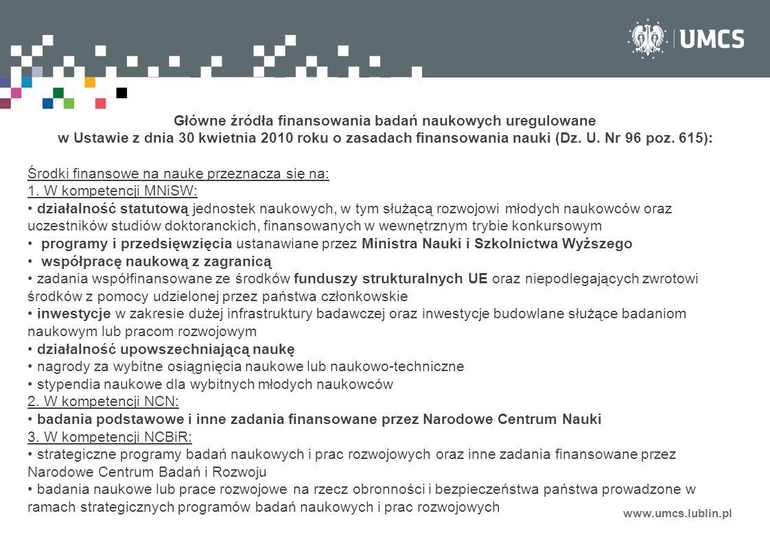 www.umcs.lublin.pl Główne źródła finansowania badań naukowych uregulowane w Ustawie z dnia 30 kwietnia 2010 roku o zasadach finansowania nauki (Dz. U.