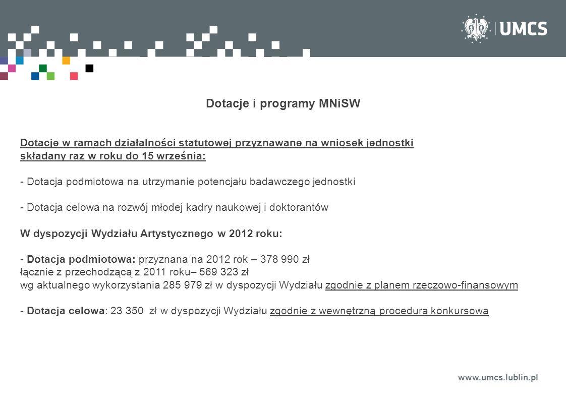 www.umcs.lublin.pl Dotacje i programy MNiSW Dotacje w ramach działalności statutowej przyznawane na wniosek jednostki składany raz w roku do 15 wrześn