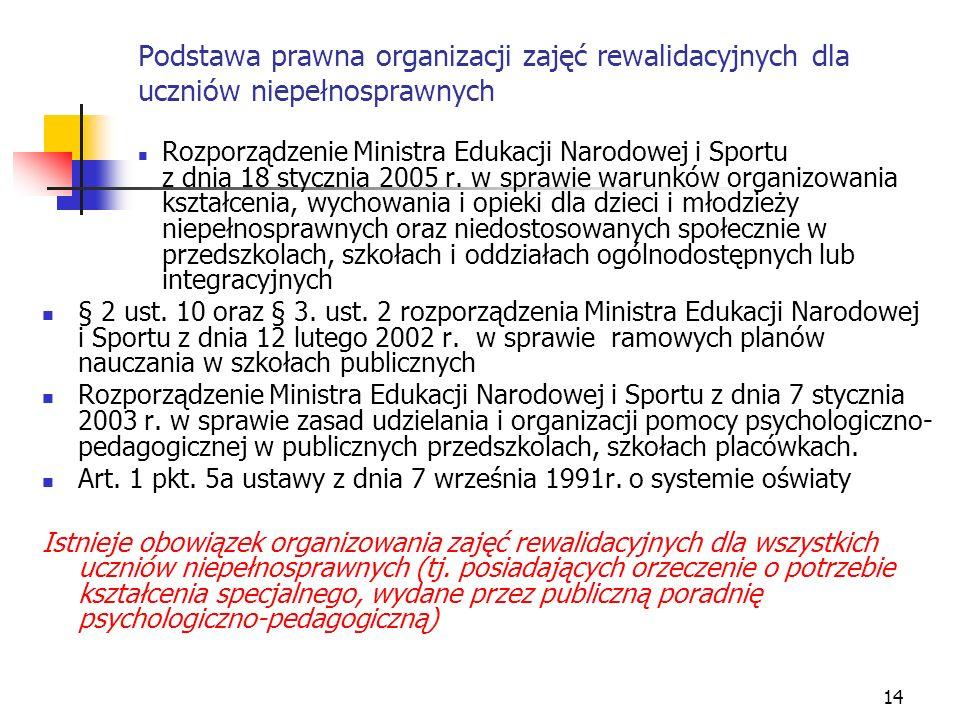 14 Podstawa prawna organizacji zajęć rewalidacyjnych dla uczniów niepełnosprawnych Rozporządzenie Ministra Edukacji Narodowej i Sportu z dnia 18 stycz