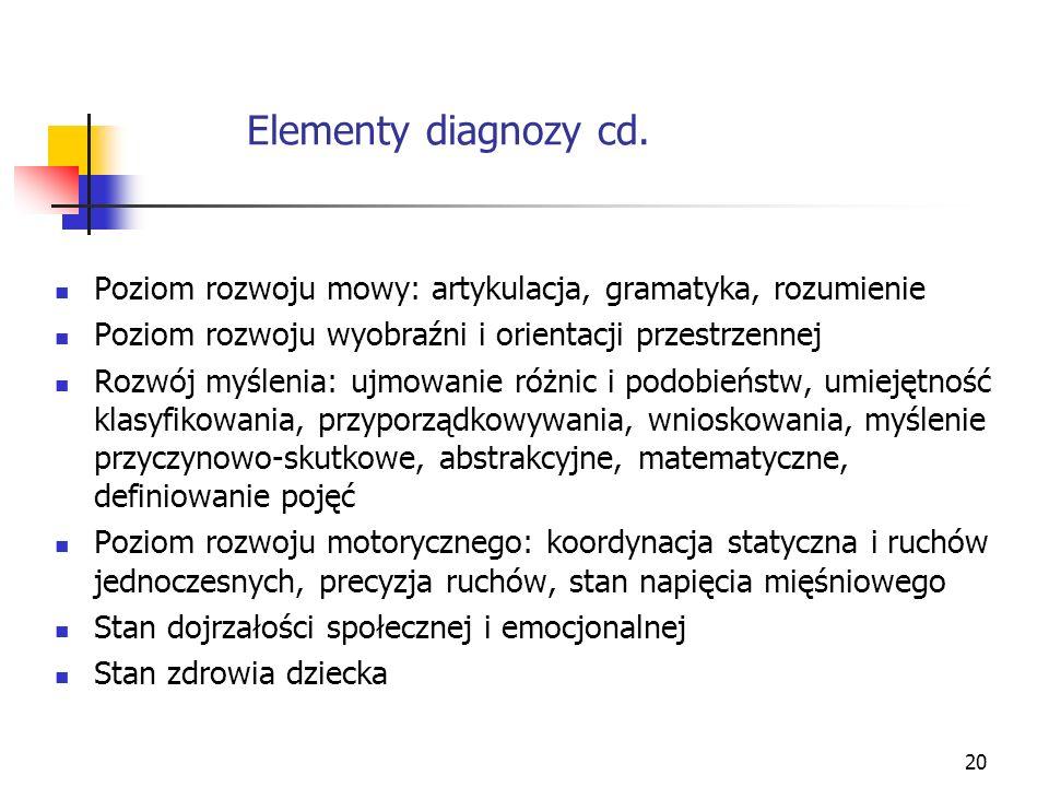20 Elementy diagnozy cd. Poziom rozwoju mowy: artykulacja, gramatyka, rozumienie Poziom rozwoju wyobraźni i orientacji przestrzennej Rozwój myślenia: