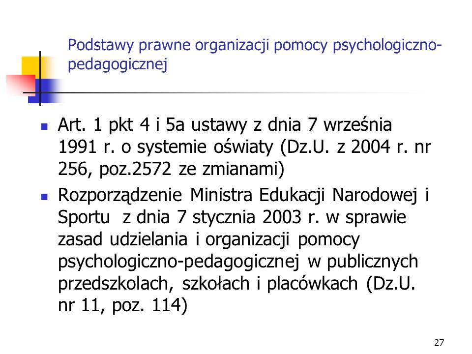 27 Podstawy prawne organizacji pomocy psychologiczno- pedagogicznej Art. 1 pkt 4 i 5a ustawy z dnia 7 września 1991 r. o systemie oświaty (Dz.U. z 200