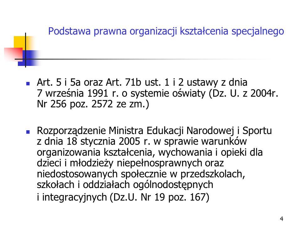 4 Podstawa prawna organizacji kształcenia specjalnego Art. 5 i 5a oraz Art. 71b ust. 1 i 2 ustawy z dnia 7 września 1991 r. o systemie oświaty (Dz. U.